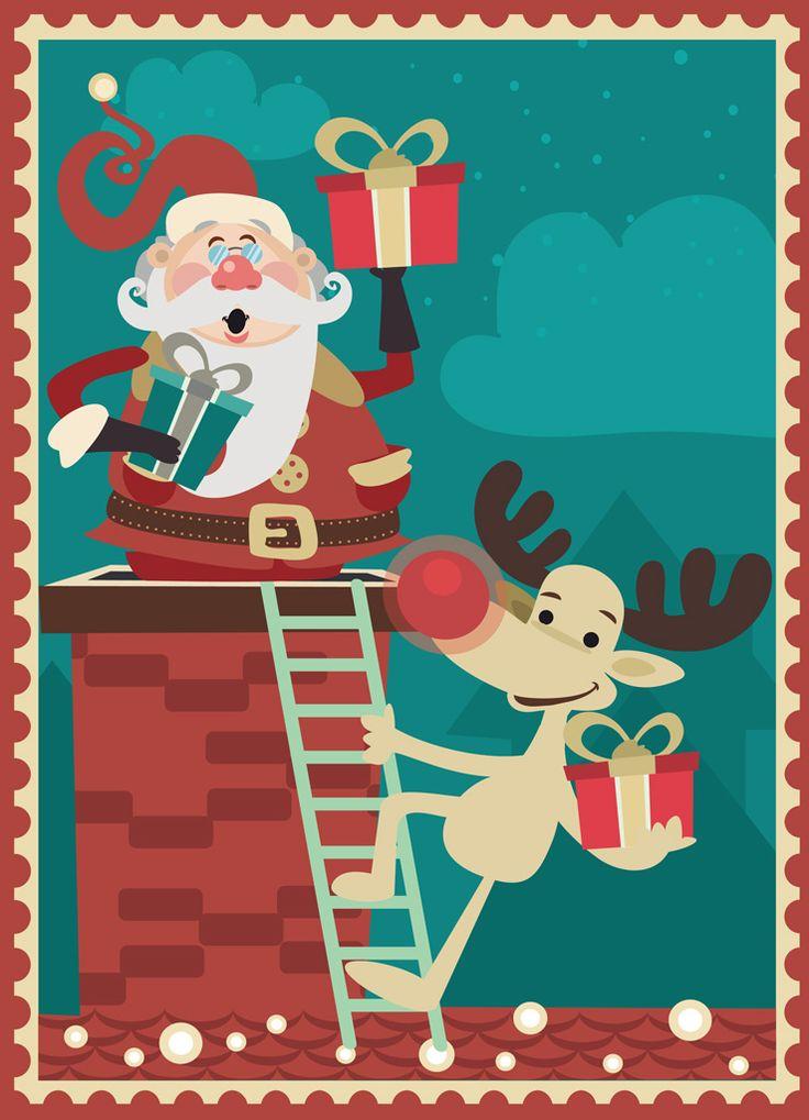 [フリーイラスト素材] イラスト, クリスマス, 12月, 行事 / イベント, サンタクロース, トナカイ, プレゼント / 贈り物, 煙突, AI ID:201411170500