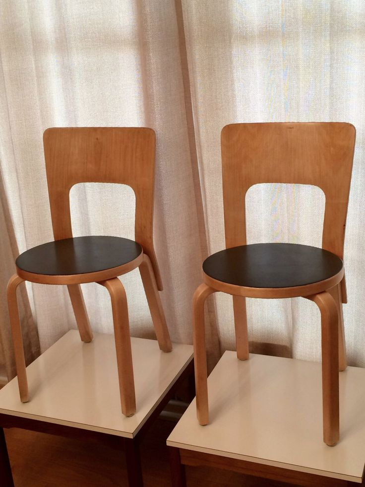 Original Pair Alvar Aalto Chairs // Chair #66 // with Labels by ModernaireMCMStudios on Etsy https://www.etsy.com/listing/201428115/original-pair-alvar-aalto-chairs-chair