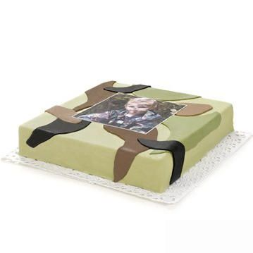 camouflage Cake  Price:  €28.65  Order this tough Camouflage Cake and surprising the birthday boy by him on his or her birthday to be delivered throughout the Netherlands. From 10 persons, ordered today, delivered tomorrow!