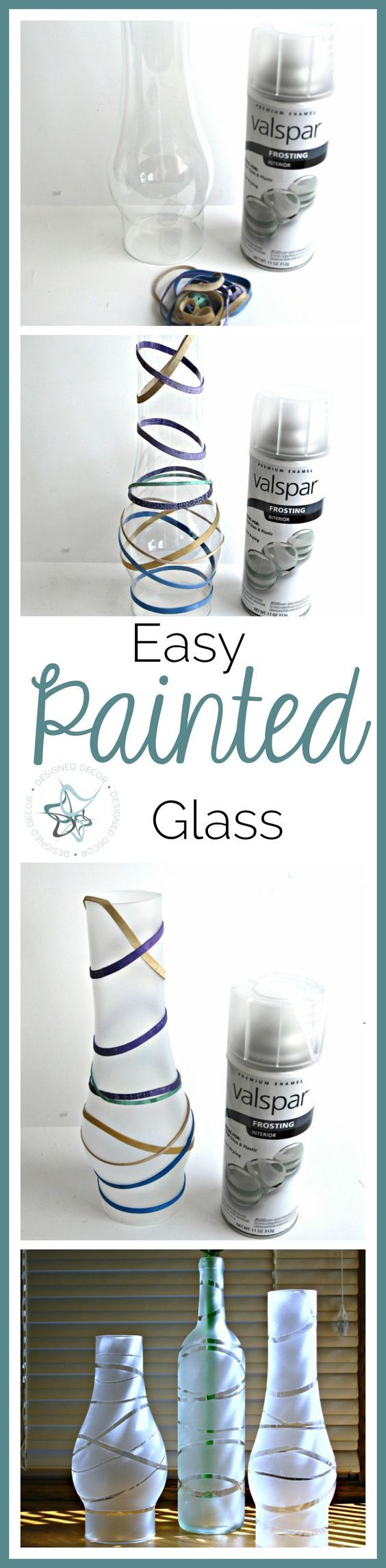 Easy Painted Glass with Spray paint - Frosted glass the easy way. www.designeddecor.com