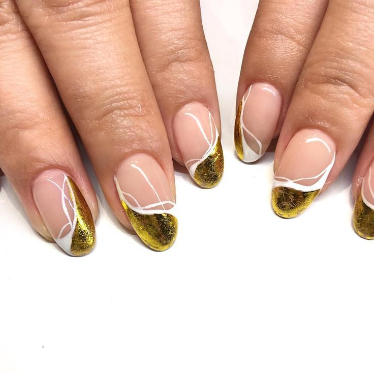 Gold Chrome French Tip Nails These Nails Are So Hot For Any Season But Why Not Wear These For This Summ Spring Nail Colors Colorful Nail Designs Chic Nail Art