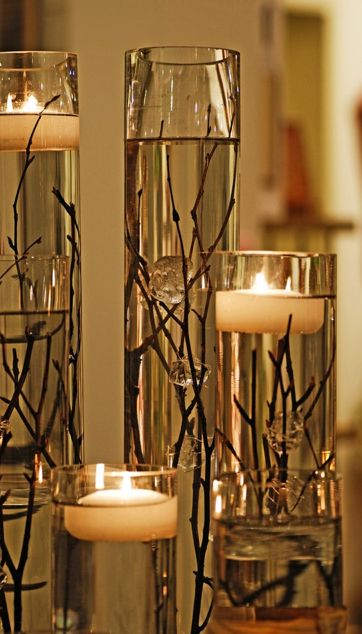 Floating candle centerpiece idea #1