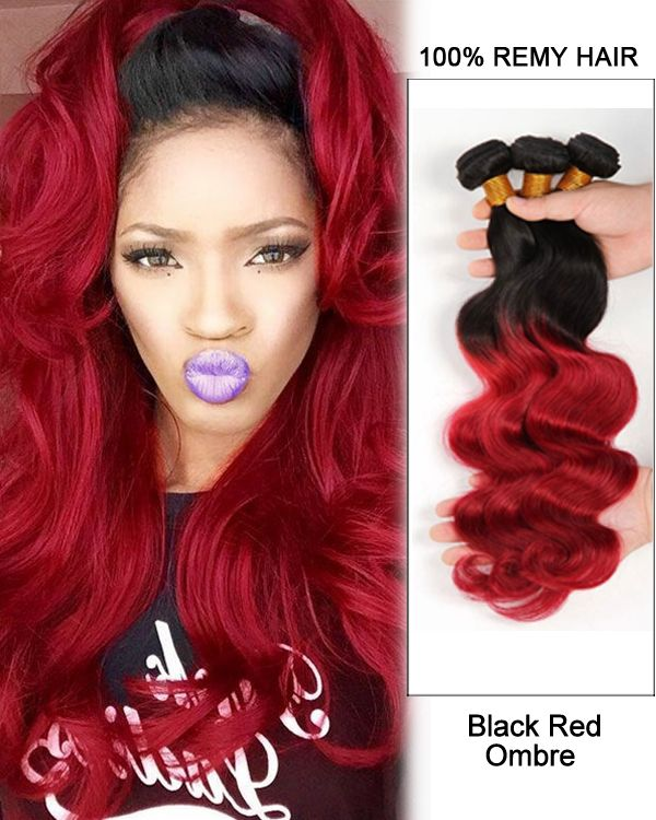 Black Red Ombre Hair Two Tones Weave Body Wave Weft Remy Human Extensions