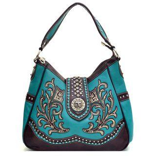 Montana West Rhinestone Embroidered Flower Studded Cross Shoulder Bag | Overstock.com Shopping - The Best Deals on Shoulder Bags