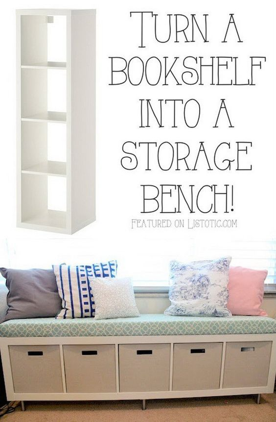 Bookshelf Storage Bench: Turning a simple IKEA bookshelf on its side to create a storage bench seat.