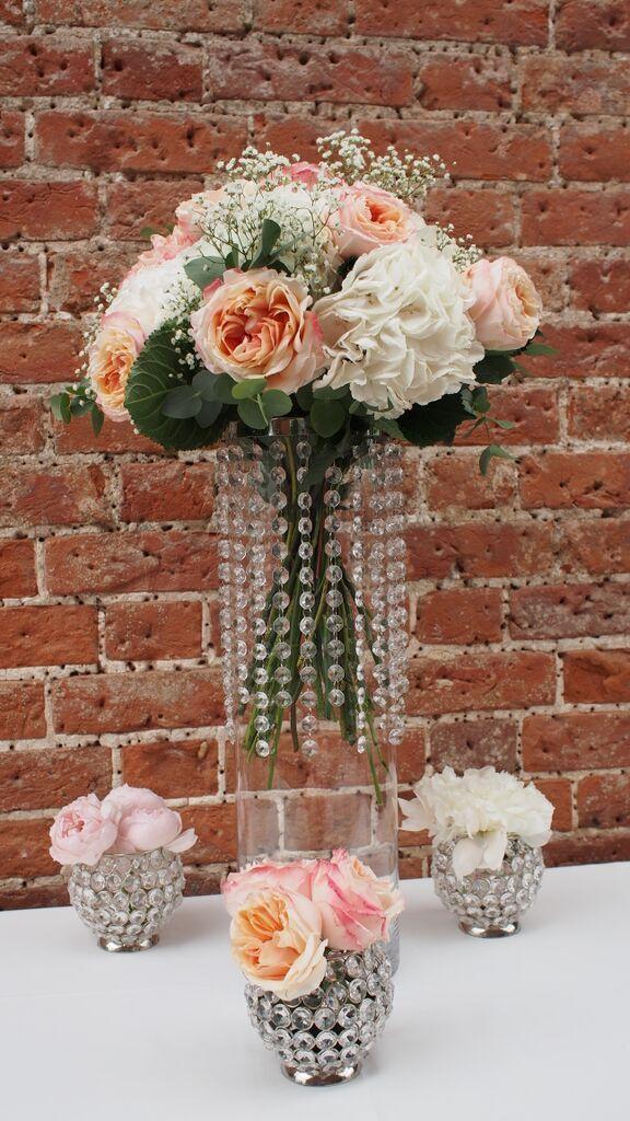 Table Centerpiece, Mini Designs, Crystal Droplet Vases, Peach Tea Roses,  White Hydrangea