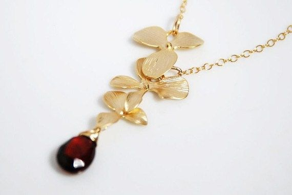 Red garnet necklace, gold filled necklace, January birthstone necklace, grade AA garnet necklace with 14K gold filled chains and findings on Etsy, $30.00