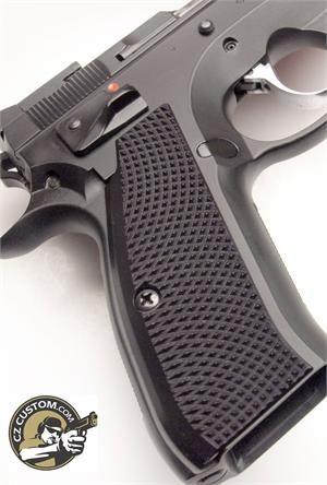 CZ 75 Thin, Long, Black, Aggressive Checker Grips