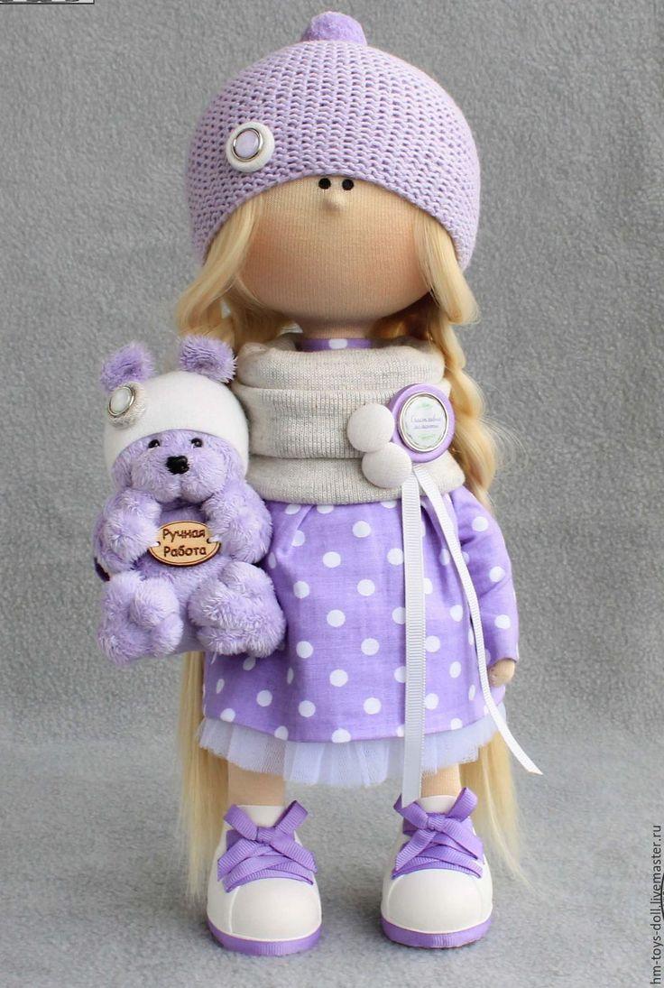 Купить кукла - сиреневый, кукла ручной работы, трикотаж, хлопок, пряжа