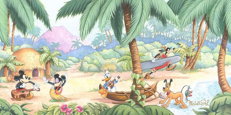 Hawaiian Holiday - Island Days - Michelle St. Laurent - World-Wide-Art.com - #disney #michellestlaurent #mickeymouse #minniemouse #goofy #pluto #donaldduck #fabfive