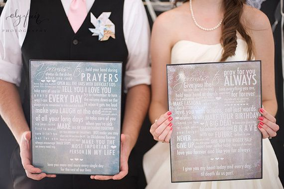 Vows turned into art. Hang that above the bed or somewhere you can see it everyday as a reminder of your love for one another and the promises you made. Yessss! Too cute.