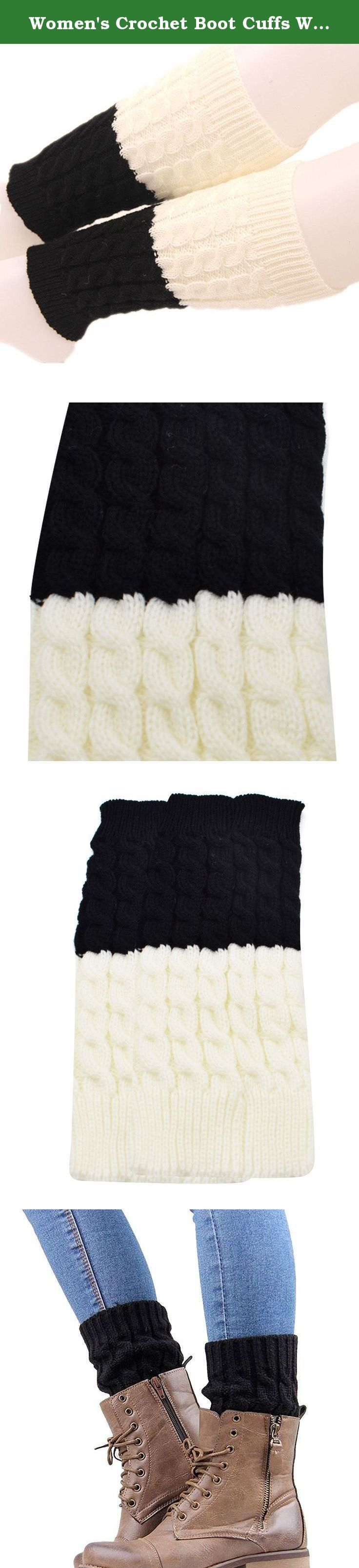 Women's Crochet Boot Cuffs Winter Cable Knit Leg Warmers Boot Cover Topper Cuff A Black White. Love the boot and leg warmer look? These boot toppers are definitely the style boss in that department. These boot toppers can give you the stylish peek effect. Grab these boot toppers for yourself or as a gift now! A must buy in winter season, keep your leg warm and add glamour to your outfit We sell only reliable products, it's our goal to make every customer satisfied with our services!...