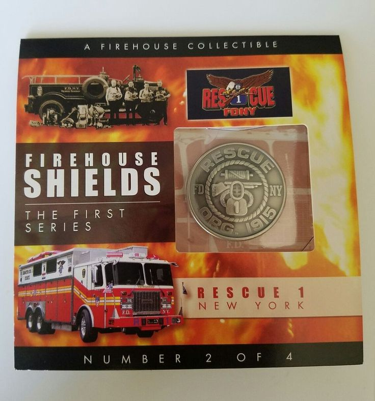 RARE- FDNY Rescue 1 challenge coin- Firehouse series 2/ 4. Leather helmet, NYFD