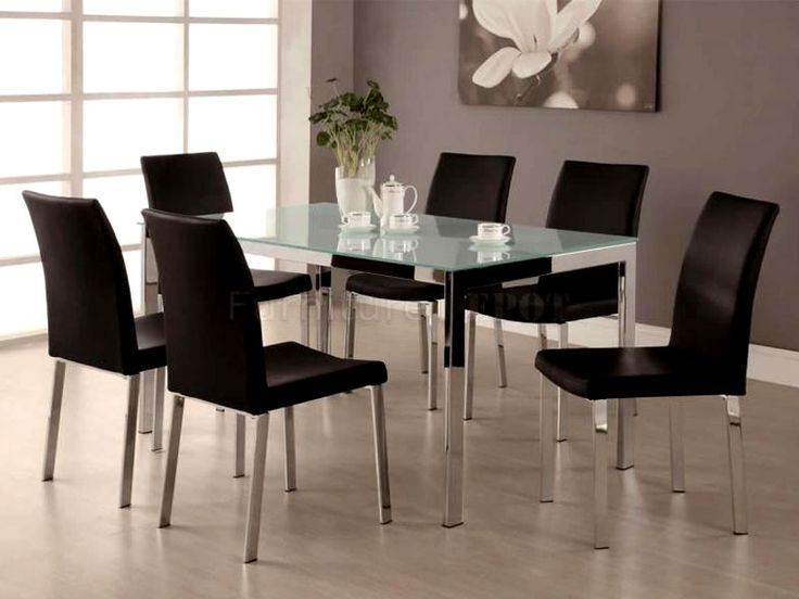 zerdox top glass dining table with six chairs - Glass Dining Room Furniture