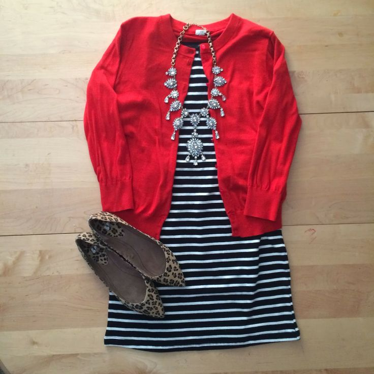 striped dress, red cardigan, leopard flats, statement crystal necklace, work wear, professional, office outfit | IG: @whitecoatwardrobe