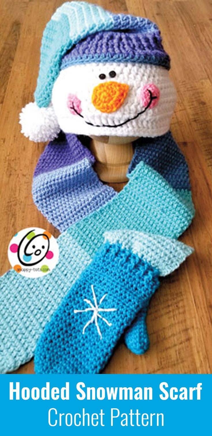 Cute And Warm Hooded Snowman Scarf With Mittens Crochet Pattern
