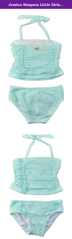 Jessica Simpson Little Girls' Toddler Seersucker Tankini, Turquoise, 2T. Girls swimwear.