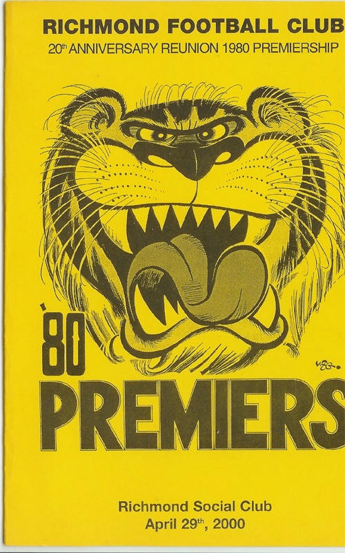 Richmond Tigers Football Club Reunion 1980's Premiers Menu