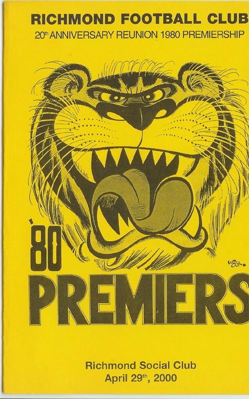 Richmond Tigers Football Club Reunion 1980's Premiers Menu