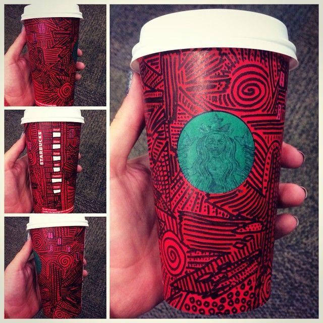 holiday green dot starbucks cup. line art. @starbucks