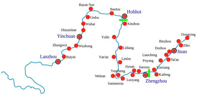 Major cities along the Yellow River