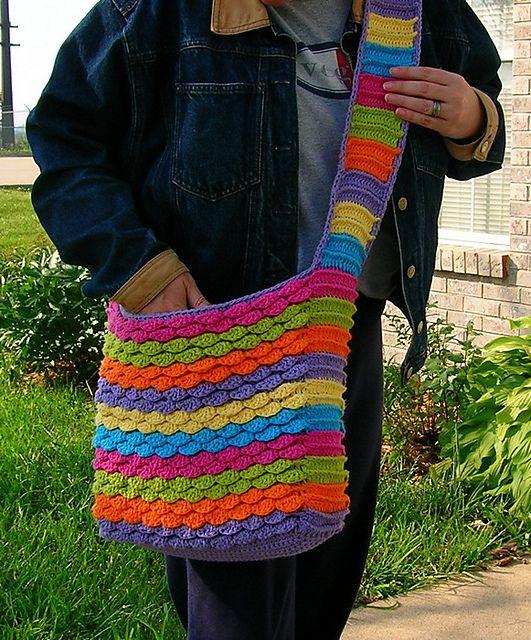 Great roundup of FREE Crochet Tote Bag Patterns! - Spring Petals Messenger Bag