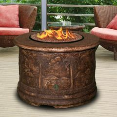 Tropical fire-pits by Serenity Health & Home Decor.  Great for a small outdoor living area. #TropicalDesign
