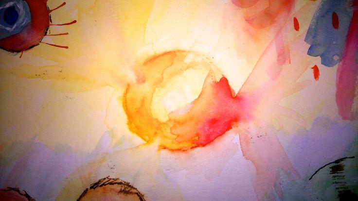 Sun. Watercolor. Explosion