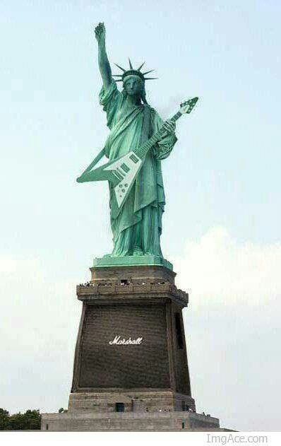 Gibson guitar Marshall amp Statue of Liberty                                                                                                                                                      Plus