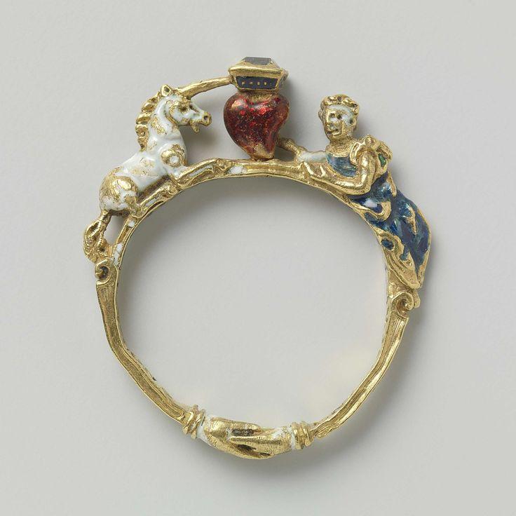 Ring made from gold, email and diamond. het midden een door een diamant bekroond hart tussen een witte eenhoorn en een in het blauw geklede vrouw, anoniem, 1550