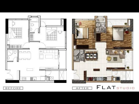 Section architecture rendering by Photoshop _ Midnight scene - YouTube