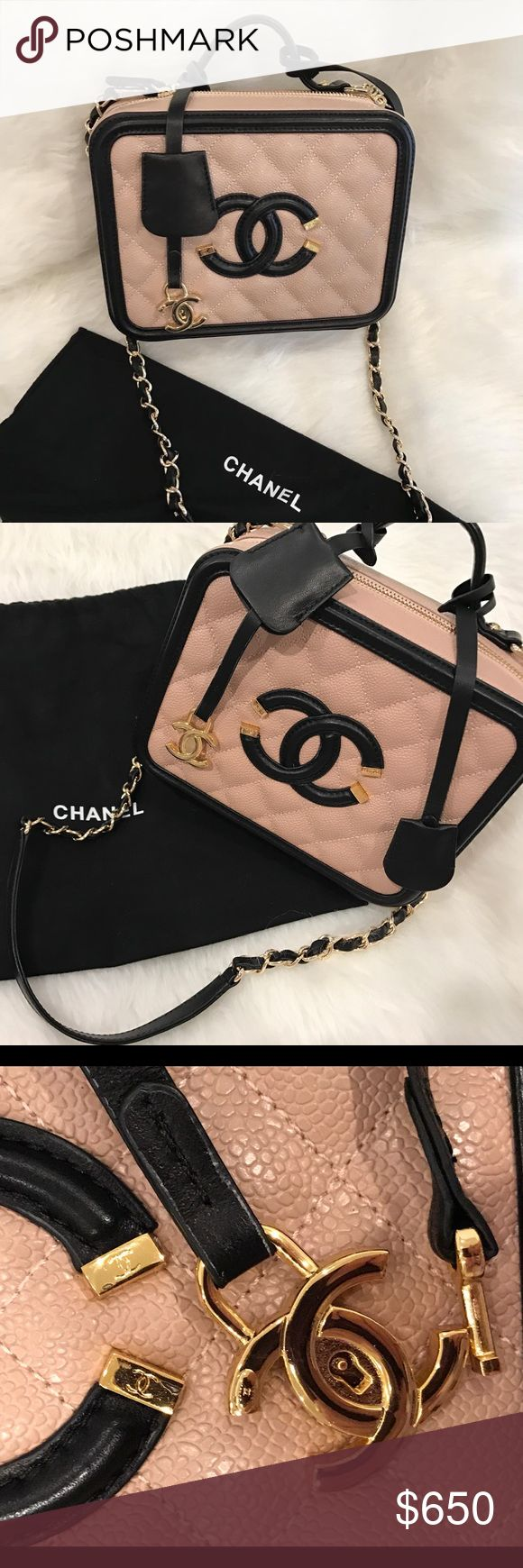 ✖️NEW✖️Camel & Black Chanel Vanity Lunch Box Bag Please note this is not the real deal but looks exactly like it. 100% leather. Brand new chanel spring 2016 two tone camel & black vanity case lunch box bag. There are no scratches or marks. Bag comes with dust bag & auth card. Bag even has auth sticker inside. This bag is soo cute and great for any chanel fan without the steep $4200 price tag. You are practically getting it for the cost of the tax on the bag. ✖️NO TRADES ✖️ PRICE IS FIRM ✖️…