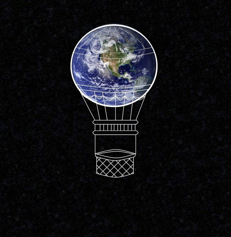 Print art ziemia globus balon earth