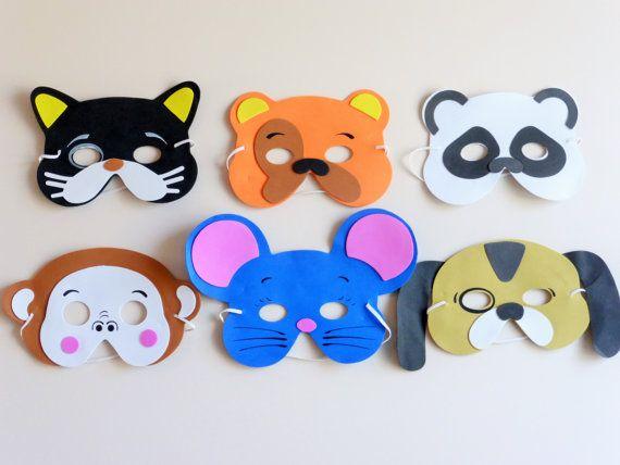 Masques, masques pour enfants, des masques d'animaux, les enfants s'amuser les masques, masque de chat, des masques de chien, masque de souris, masque de panda, masque de singe, masques mignons, fun cotillons