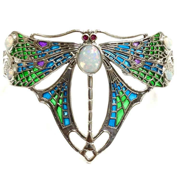 ART NOUVEAU STYLE PLIQUE A JOUR OPAL RUBY DRAGONFLY BRACELET 925 STERLING SILVER in Jewellery & Watches, Fine Jewellery, Fine Bracelets   eBay