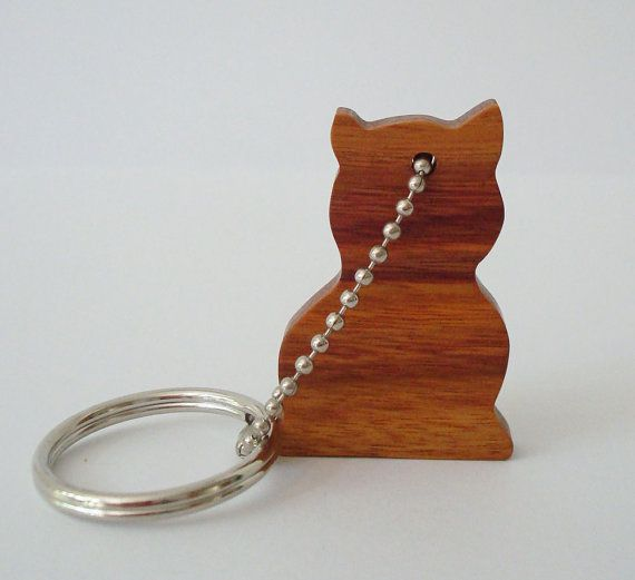 Cat Key Chain Wood Scroll Saw Outline  by OohLookItsARabbit, $6.50
