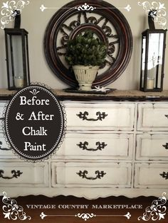 DIY:  How to Get this French Country Look - this dated French Provincial dresser was completely transformed by staining the top and using ASCP on the base - via Vintage Country Marketplace