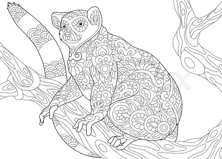 Stock vector of 'Stylized wild lemur, madagascar mammal animal. Freehand sketch for adult anti stress coloring book page with doodle and zentangle elements.'