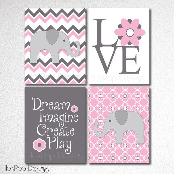 Nursery Wall Decor Artwork For Kids Set Of 4 Prints Pink Gray Nursery  Elephant Nursery Art Art Prints For Girls Chevron Baby Girl Wall Art