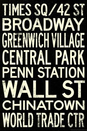 New York City Subway Style Vintage Retro Metro Travel Art Print at Art.com