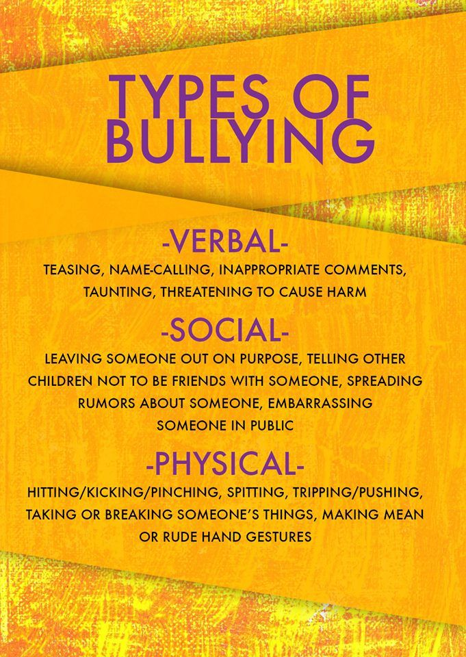 There are many different types of bullying. Some are obvious, while others are more subtle. Some of the most common types of bullying to look out for in your school and community include: verbal, social & physical.