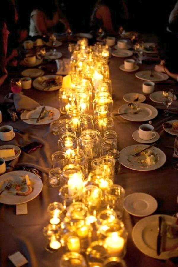 dinner party table. Candles, Candles all you need. All kinds, all sizes.
