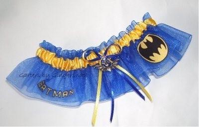 Batman themed wedding garter by tracey