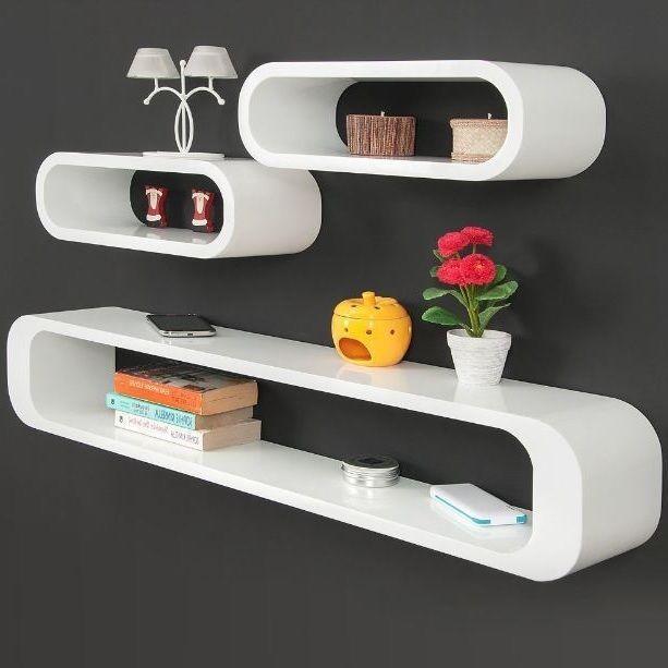Wall Shelf Decor Set Unit High Gloss Furniture Home Modern White Storage Shelves