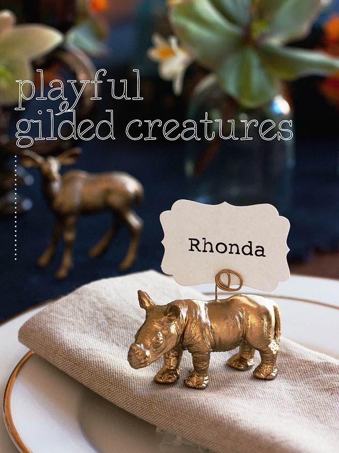 DIY Animal Wedding Place Card Holders // Instructions at www.modernwedding.com.au