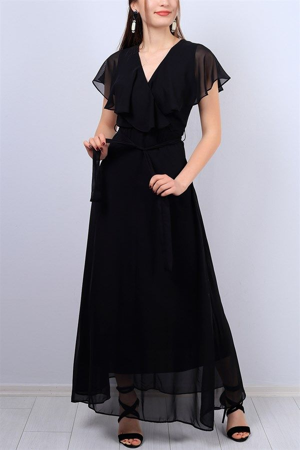 Siyah Kruvaze Yaka Bayan Sifon Elbise 12715b Sifon Elbise Siyah Sifon Elbiseler Elbise