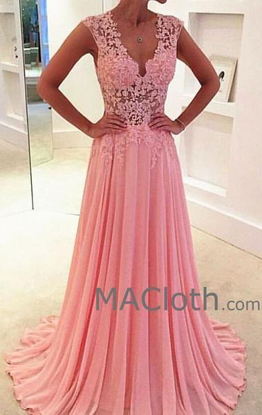 bd273af36de8 Straps V Neck A Line Lace Chiffon Pink Prom Dress Long Evening Gown Wedding  Party Formal Dresses in 2019 | Wedding | Prom dresses long pink, Prom  dresses, ...