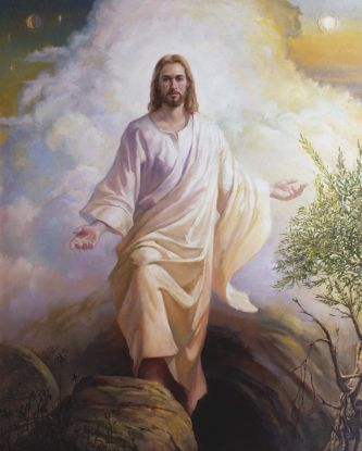 Christ in white robes in front of billowing white clouds, walking across large stones seen in the foreground.