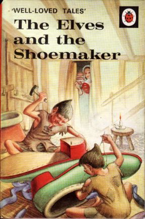 ELVES AND THE SHOEMAKER Vintage Ladybird Book Well Loved Tales Series 1975 ~ i've been making my Basaak doll some shoes and boots recently and as i cut the little pieces of leather, i'm reminded of one of my favourite books (from the pre-novel days! 5/6?). Wish some kind elves would come and finish the boots off for me!