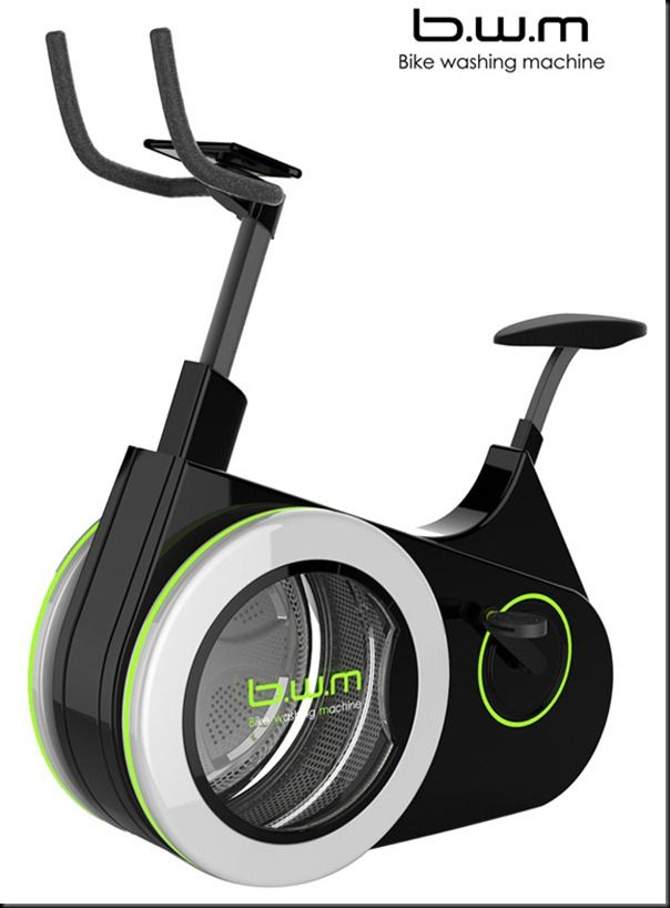 An exercise bike collects energy as the person pedals, and the charging battery then powers the washing machine!